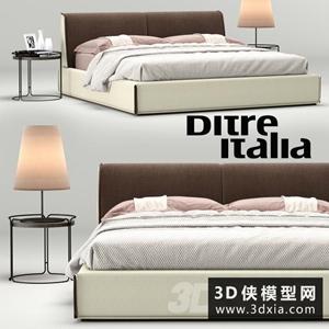 现代风格床模型组合国外3D模型【ID:729316908】