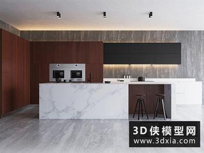 現代廚柜國外3D模型【ID:829479030】