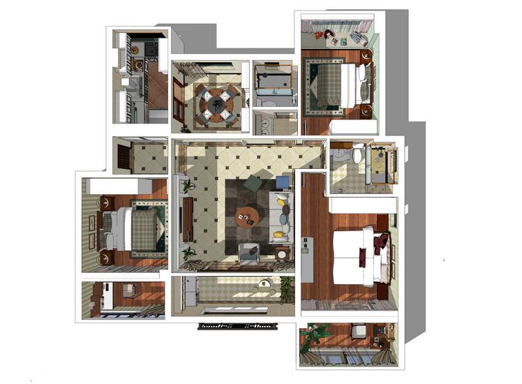 现代风格三房两厅室内设计SU模型【ID:936398856】