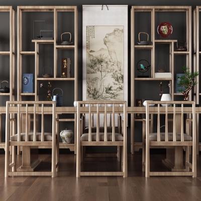 中式实木茶桌椅3D模型【ID:328440632】