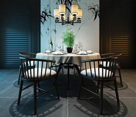 新中式餐桌椅组合3D模型【ID:327895403】