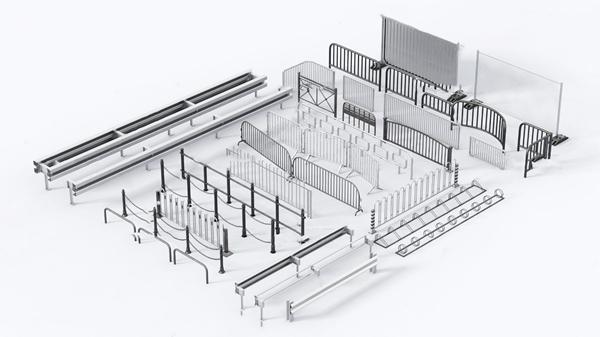 現代不銹鋼公共欄桿護欄3D模型【ID:347179533】