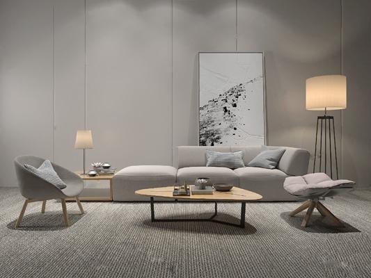 现代沙发茶几组合3D模型【ID:620015029】