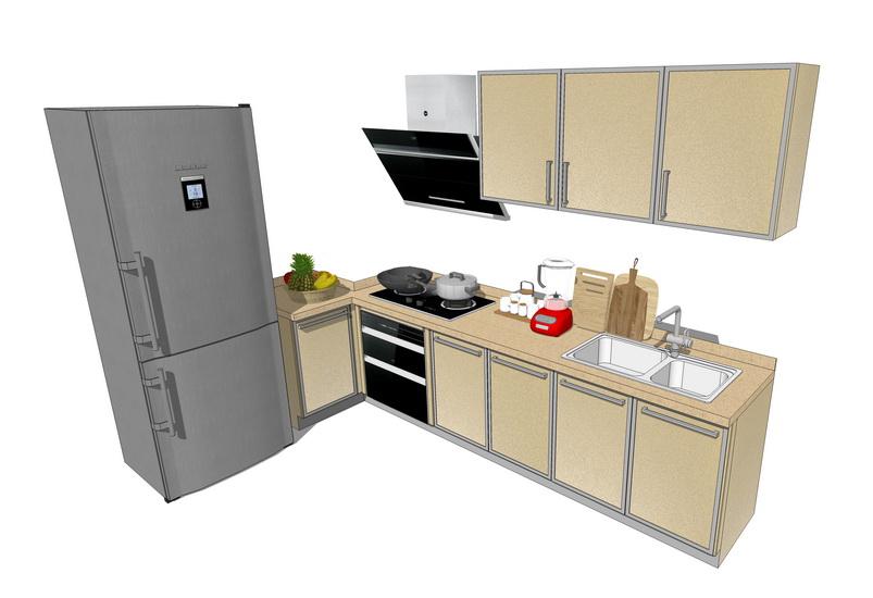 廚房櫥柜組合SU模型【ID:936398381】