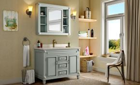 美式衛浴柜架洗手臺鏡子組合3D模型【ID:927817446】