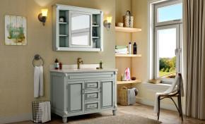 美式卫浴柜架洗手台镜子组合3D模型【ID:927817446】