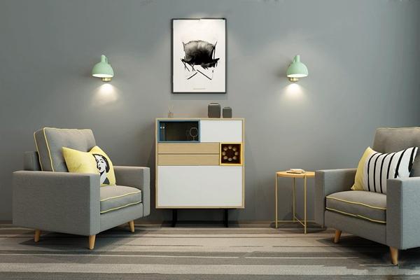 北欧单人沙发边柜3D模型【ID:928177623】