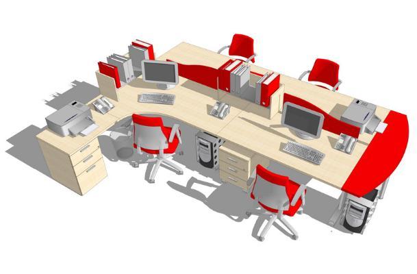 辦公桌椅工作卡位SU模型【ID:947858663】