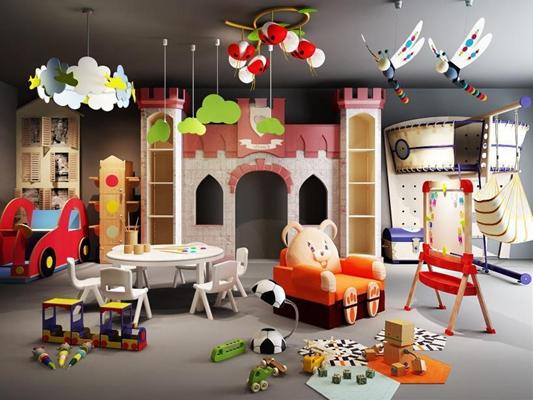 北歐兒童家具城堡卡通吊燈兒童沙發玩具畫架幼兒園小火車攝影素材組合3D模型【ID:728057018】