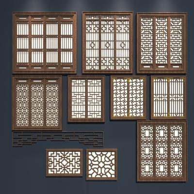 中式窗戶組合3D模型【ID:727813539】