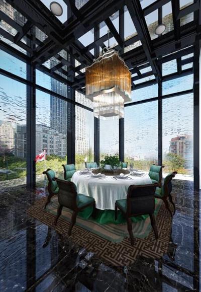 現代酒店餐廳餐桌椅組合3D模型【ID:427938448】