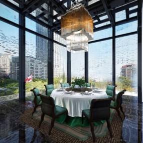 现代酒店餐厅餐桌椅组合3D模型【ID:427938448】