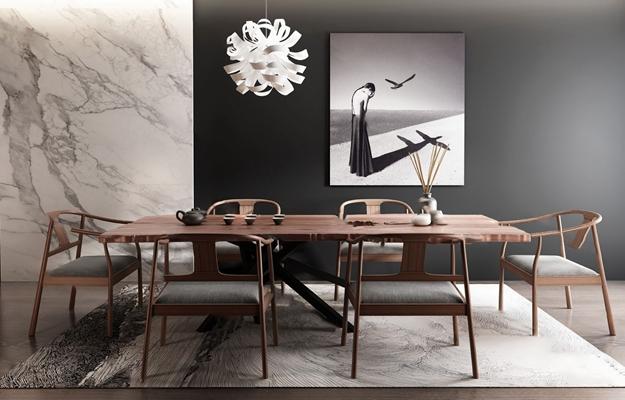 中式茶桌椅3D模型【ID:124895205】