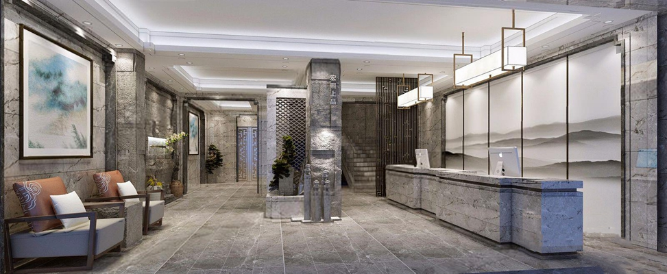 新中式酒店大堂3D模型【ID:427987275】