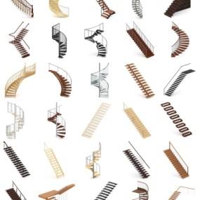 现代楼梯组合3D模型【ID:828473593】