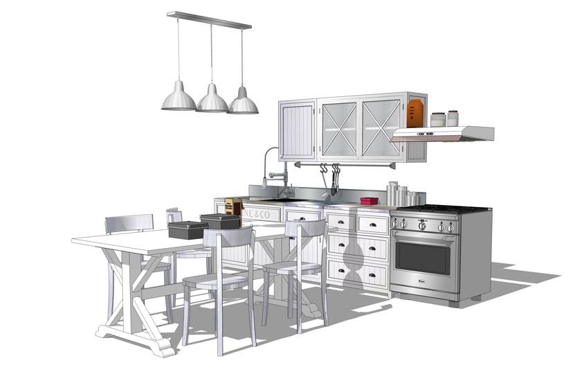 厨房橱柜组合SU模型【ID:936399355】