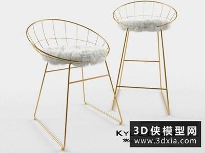 现代金属吧椅国外3D模型【ID:729402875】