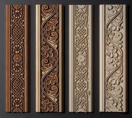 新中式木雕画装饰线3D模型【ID:828157681】