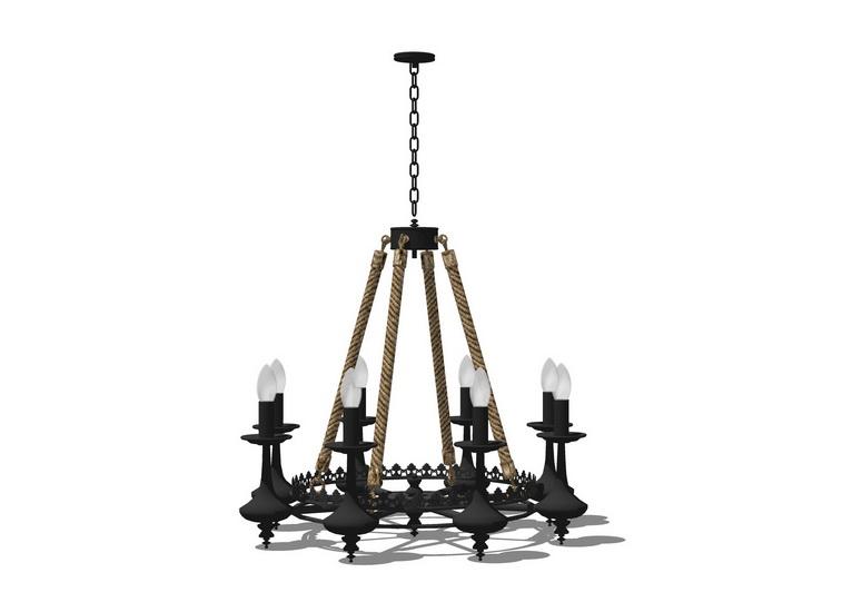 麻繩編織吊燈SU模型【ID:336399873】