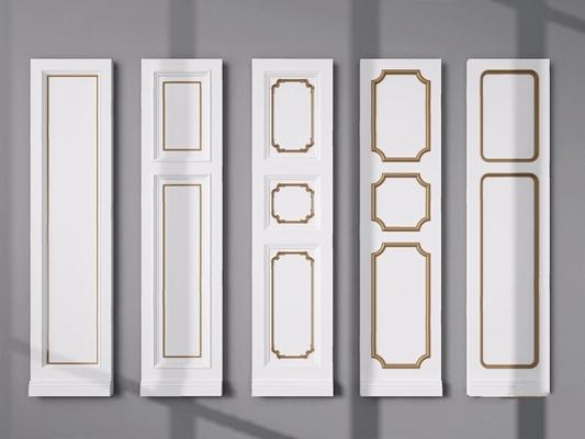 欧式客厅护墙板3D模型【ID:828326630】