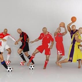 模特人物篮球人打篮球踢足球3D模型【ID:628053539】