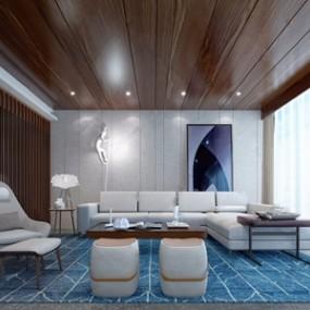 现代客厅 3D模型【ID:541545014】