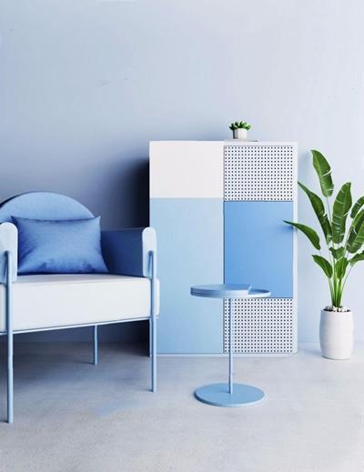 北欧单人沙发铁皮边柜组合3D模型【ID:928333632】