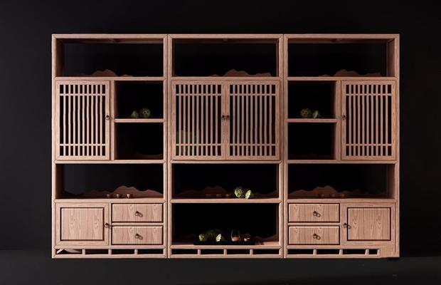 新中式书柜组合3D模型【ID:928202550】