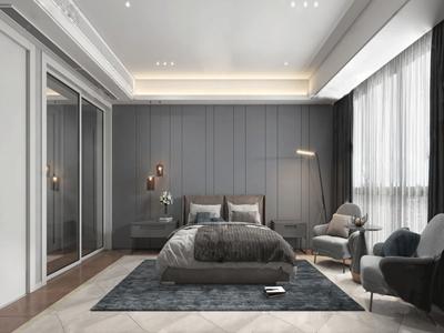 現代主人房臥室3D模型【ID:550467293】