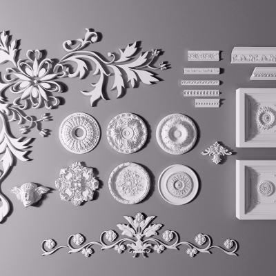 歐式石膏雕花花盤線條角線組合3D模型【ID:827815616】
