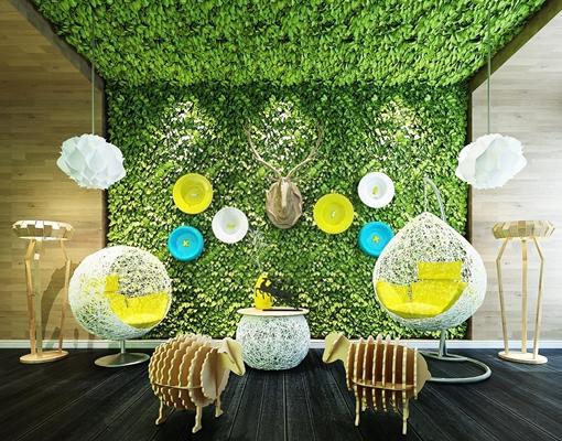 現代休閑藤椅吊燈小羊擺件植物墻組合3D模型【ID:728063175】