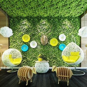 现代休闲藤椅吊灯小羊摆件植物墙组合3D模型【ID:728063175】