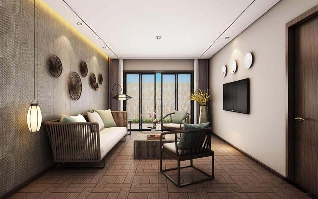 新中式客厅卧室3D模型【ID:427966680】