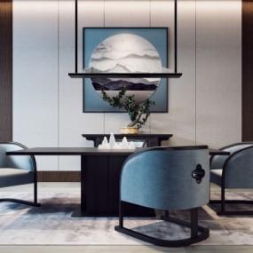 新中式餐桌椅3d模型【ID:328442410】