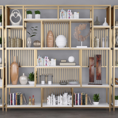 现代装饰架书架书籍摆件组合3D模型【ID:927837208】