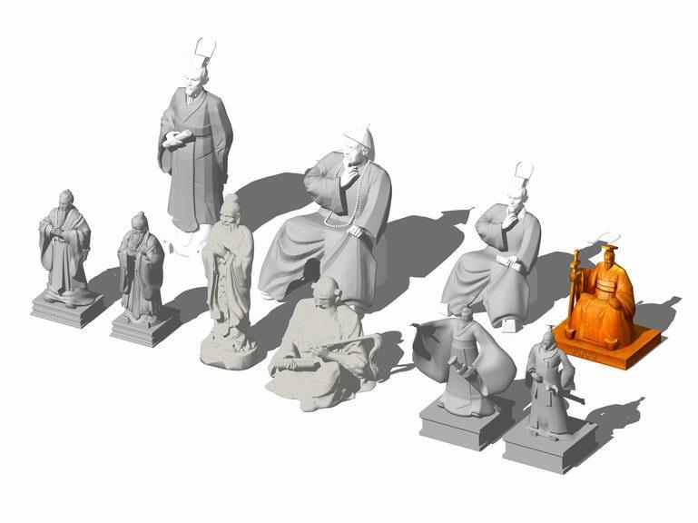 中國古代人物雕塑組合SU模型【ID:636400623】