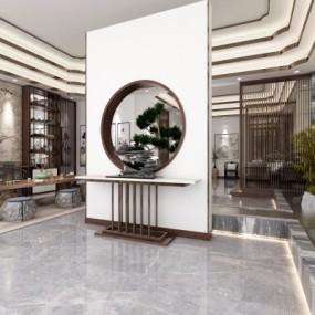 新中式茶楼会所玄关3D模型【ID:427796120】
