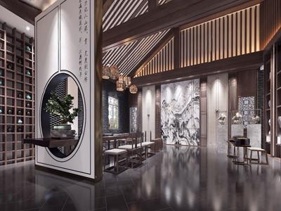 新中式茶楼大堂3d模型