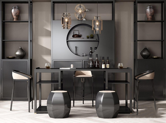 新中式酒柜吧台吧椅组合3D模型【ID:628295337】