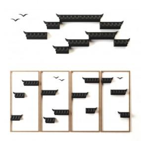 新中式屋檐立体墙面装饰3D模型【ID:127767180】