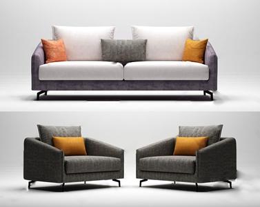 現代百利家居多人沙發3D模型【ID:641633732】