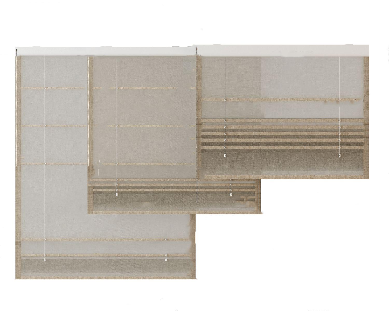 現代布藝窗簾3D模型【ID:245289667】