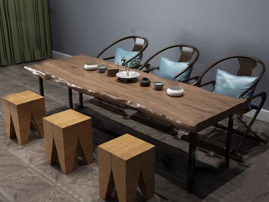 中式茶桌椅3D模型【ID:224895375】