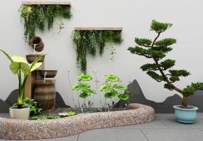 新中式水池荷花盆栽组合3D模型【ID:127754803】