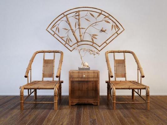 禪意新中式竹椅邊柜組合3D模型【ID:227881433】