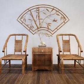 禅意新中式竹椅边柜组合3D模型【ID:227881433】