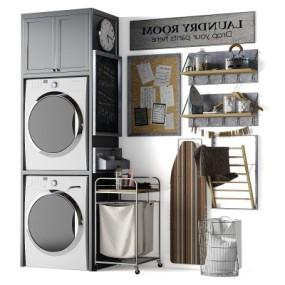 现代洗衣机置物架储物柜手推车摆件组合3D模型【ID:127770574】