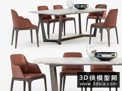現代餐桌椅組合國外3D模型【ID:729432788】