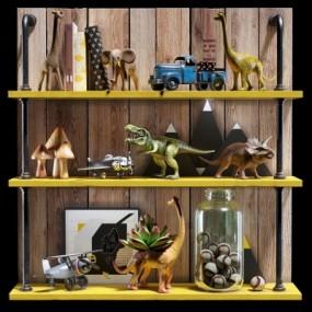 现代恐龙飞机儿童玩具组合3D模型【ID:527800795】