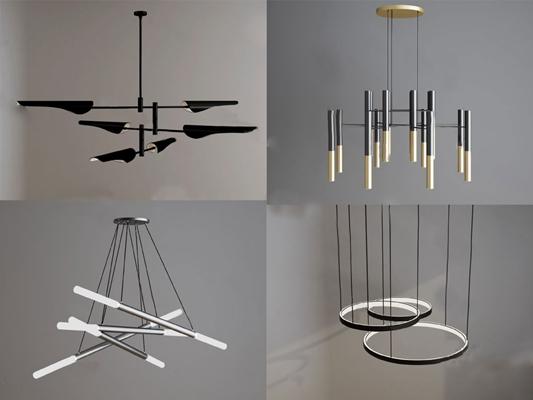 现代吊灯3D模型【ID:224888899】